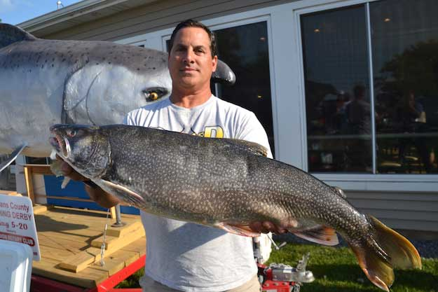 Dan DeGeorge of Rochester won the lake trout division with this 17-pound, 10-ounce fish.