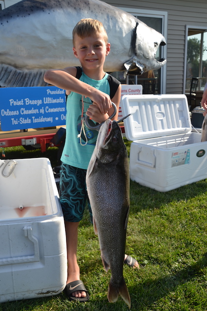 Brayden Gambell of Hilton came in third with this lake trout that weighed 14 pounds, 9 ounces.